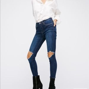 High rise busted skinny jeans free people